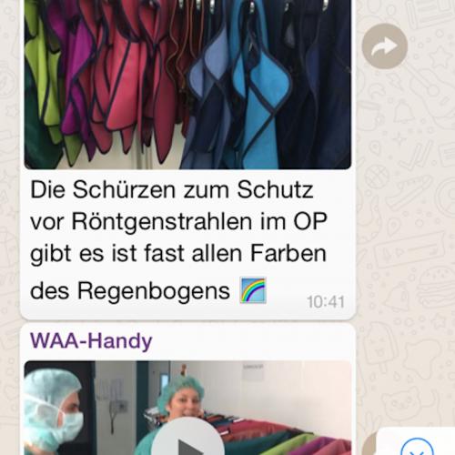 Screenshot aus der WhatsApp-Gruppe, die vom 27. bis 31.3. Einblicke durch Texte, Videos und Fotos von Mitarbeitern des Krankenhauses Porz am Rhein in Köln bekommen haben, hier ist es stellv. OP-Koordinatorin Diana Piontek