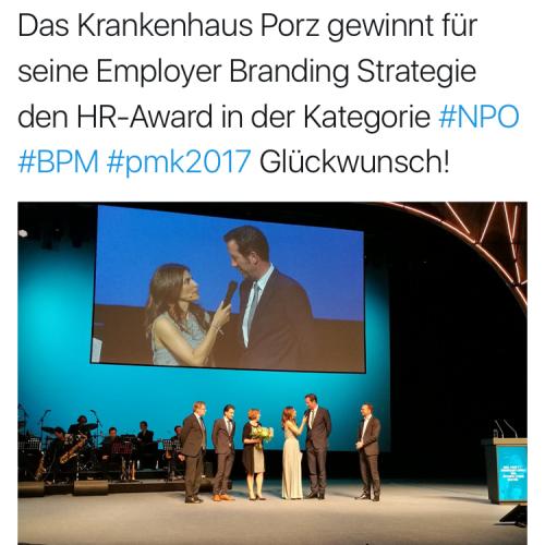 Tweet anlässlich Personalmanagement Award 2017