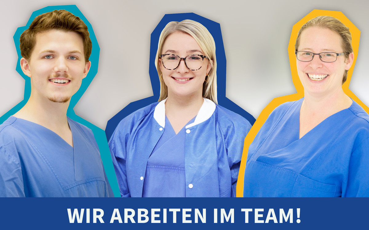 Intensivpfleger Sebastian Roß, Hebamme Anna Verbert (Mitte) und Kinderkrankenschwester Yvonne Rückels