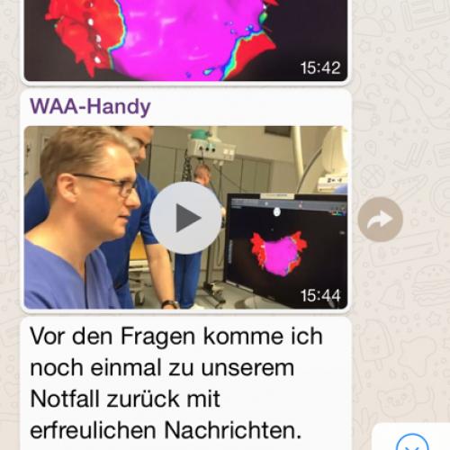 Screenshot aus der WhatsApp-Gruppe, die vom 27. bis 31.3. Einblicke durch Texte, Videos und Fotos von Mitarbeitern des Krankenhauses Porz am Rhein in Köln bekommen haben, hier ist es Prof. Horlitz