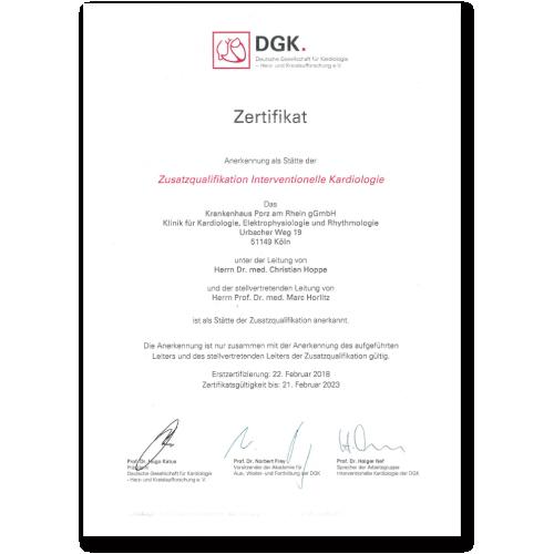 Zusatzqualifikation lnterventionelle Kardiologie 2018 - 2023