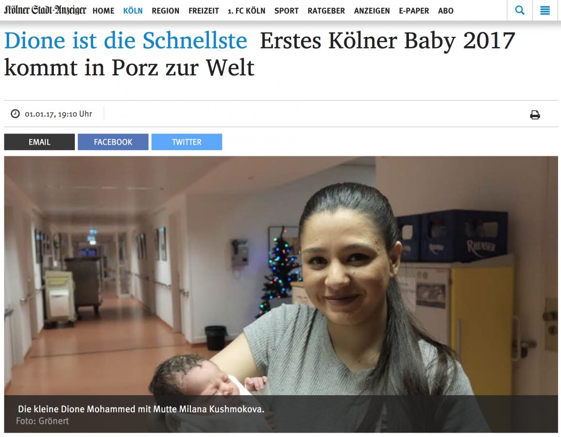 Kölner Stadtanzeiger berichtet über Neujahrsbaby